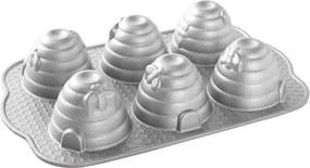 Forma na 6 včelých úľov Beehive Nordic Ware strieborná 6 x 120 ml
