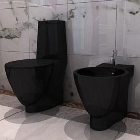 vidaXL Čierna keramická toaleta a bidet