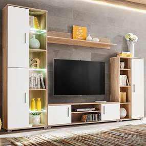 vidaXL Obývacia stena s LED svetlom, dub sonoma a biela farba