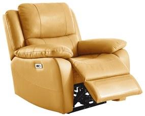 Relaxačné kreslo s elektrickým polohovaním, koža/ekokoža žltá, VIVAN