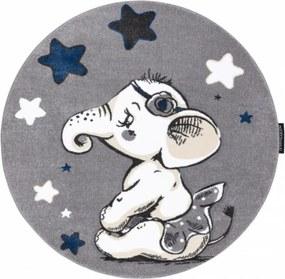 Detský kusový koberec Sloník sivý kruh, Velikosti 140cm