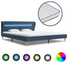 vidaXL Posteľ s LED a matracom z pamäťovej peny modrá 160x200cm látková
