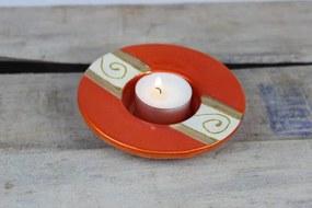 Oranžový okrúhly keramický svietnik 11 cm