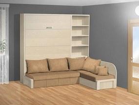 Nabytekmorava Sklápacia posteľ s rohovou pohovkou VS 3075P - 200x160 cm nosnost postele: štandardná nosnosť, farba lamina: breza 1715, farba pohovky: nubuk 133 caramel