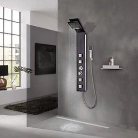 Hnedý sprchový panel, sklenený dizajn