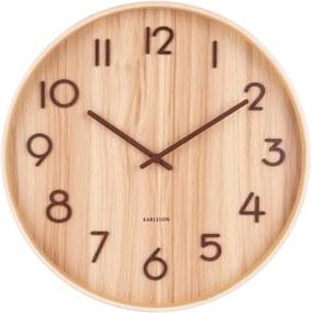 Svtlohnedé nástenné hodiny z lipového dreva Karlsson Pure Medium, ø 40 cm