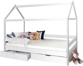 MG Detská posteľ domček Martin 90x200 - biela