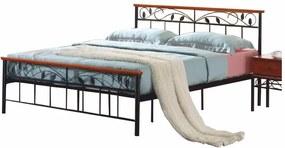 KONDELA Morena 160 kovová manželská posteľ s roštom čierna / čerešňa