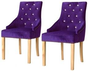 vidaXL Jedálenské stoličky 2 ks, fialové, dubový masív a zamat