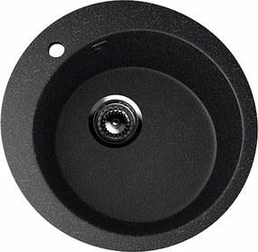Okrúhly granitový drez U- 405 Farba: čierna,