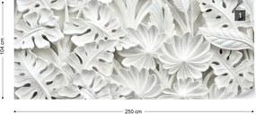 Fototapeta GLIX - Vintage 3D Carved Flowers White + lepidlo ZADARMO Vliesová tapeta  - 250x104 cm