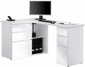 Rohový písací stôl Model 9543, biely mat / biely lesk