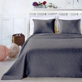 Přehoz na postel DecoKing Elodie ocelový + povlaky na polštáře
