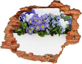 Nálepka 3D diera na stenu Modré kvety WallHole-cegla-90x70-99973378
