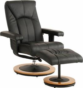 Relaxačné kreslo s podnožkou Colma, čierna