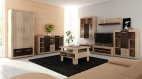 MEBLOCROSS Viki obývacia stena sonoma svetlá / biela
