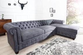 Rohová sedačka Chesterfield Vintage sivá