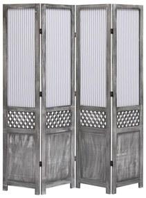 vidaXL 4-panelový paraván sivý 140x165 cm látkový