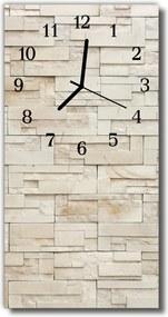 Sklenené hodiny vertikálne  Prírodné kamene béžová tehla