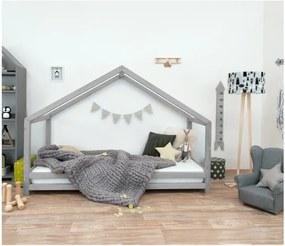 Sivá detská posteľ z lakovaného smrekového dreva Benlemi Sidy, 70 × 160 cm