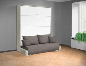 Nabytekmorava Sklápacia posteľ s pohovkou VS 3058P . 200x160 nosnost postele: štandardná nosnosť, farba lamina: dub sonoma/biele dvere, farba pohovky: Alova 04 čierna