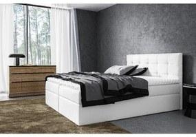 Moderná čalúnená posteľ Riki s úložným priestorom biela 160 x 200 + topper zdarma