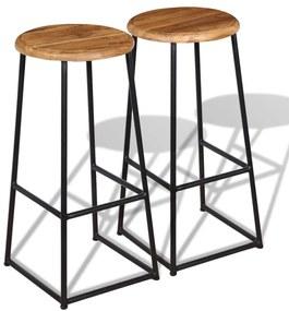 Barové stoličky, 2 ks, masívne teakové drevo