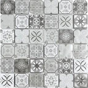 Sklenená mozaika Premium Mosaic černobílá 30x30 cm mat / lesk PATCHWORK48MIX1