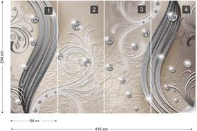 Fototapeta GLIX - Silver And Beige Swirl  + lepidlo ZADARMO Vliesová tapeta  - 416x254 cm