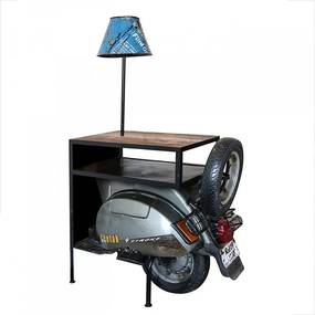 Odkladací stolík s lampičkou Skúter, 155 cm