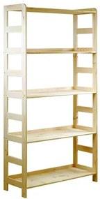Regál drevený R-10 166x83x33 5 polic-borovica
