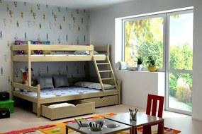 MAXMAX Detská poschodová posteľ s rozšíreným spodným lôžkom z MASÍVU 200x90cm bez šuplíku - PPS002