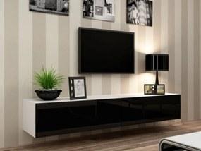 CAMA MEBLE Vigo 180 tv stolík na stenu biela / čierny lesk