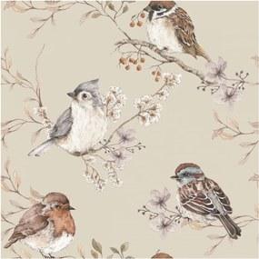 Nástenná tapeta s motívom vtáčikov v béžovej farbe Dekornik