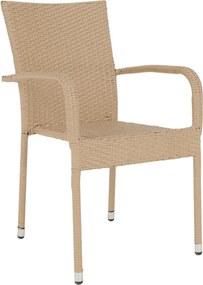 Záhradná stohovateľná stolička, svetlohnedá, VIPANA