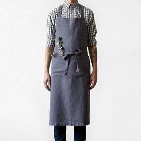 Tmavosivá ľanová zástera Linen Tales Chef, dĺžka 100 cm