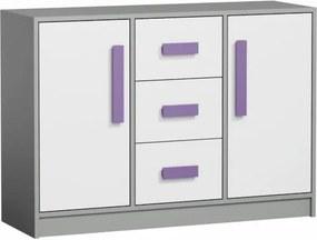 Kombinovaná komoda, biela/sivá/fialová, PIERE P06
