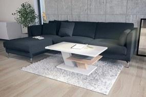 Mazzoni CLIFF bílý lesk + dub sonoma, konferenční stolek