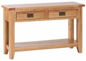 Konzolový stolík s 2 úzkymi zásuvkami a poličkou 1200x400x750