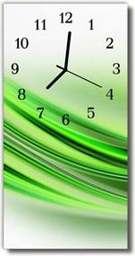 Sklenené hodiny vertikálne  Art Lines grafika zelená
