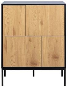 Hnedo-čierna komoda Actona Seaford, šírka 80 cm