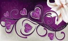 Vliesové fototapety, rozmer 416 x 254 cm, srdce fialové s ľaliou, IMPOL TRADE 703 VE XXXL