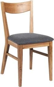 Hnedá dubová jedálenská stolička so svetlosivým sedákom Rowico Dylan