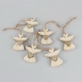Sada 6 závesných vianočných dekorácií v tvare anjela Dakls Edward