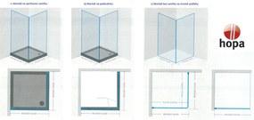 HOPA - madeira II bez vaničky, chrom, sklo frost, 90 × výška 195 cm, pravé provedení (BCMADE290CFP)