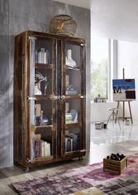 Masiv24 - TESORI Vitrína 180x100 cm, staré drevo
