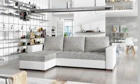 NABBI Novara L/P rohová sedačka s rozkladom a úložným priestorom sivá (Berlin 01) / biela (Soft 17)
