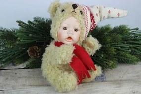 Hnedá bábika s červeno bielou čiapkou 23cm