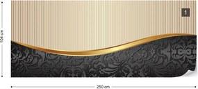 Fototapeta GLIX - Luxury Black, Gold, And Beige  + lepidlo ZADARMO Vliesová tapeta  - 250x104 cm