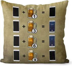 Vankúš Pivo a telefón (Veľkosť: 55 x 55 cm)